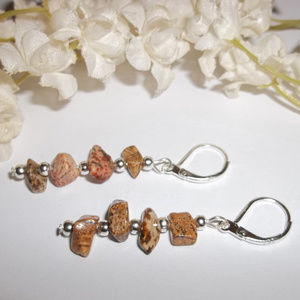 Brown Earring Set Picture Stone Chip Gemstone 4588